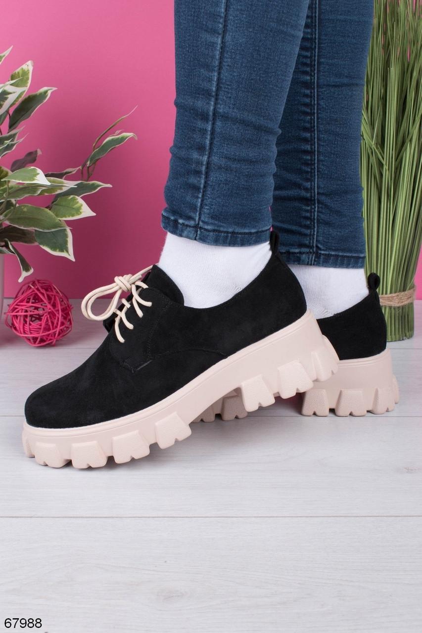 Туфли- броги женские черные с бежевым на платформе 3 см- 6 см эко замша