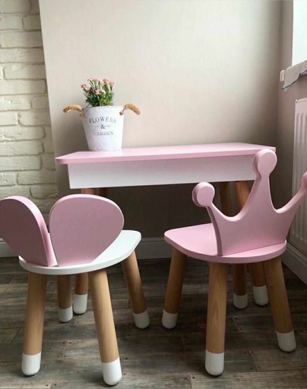 """Детский прямоугольный стол с пеналом и 2 стула """"Корона"""" и """"Мишка"""""""