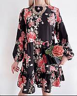 Красивое Женское Платье Ткань: штапель Цвета: белый, чёрный Размер единый 42-46