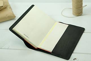 """Обложка для блокнота А5, """"Модель № 14"""", Кожа Итальянский краст, цвет Черный, фото 2"""