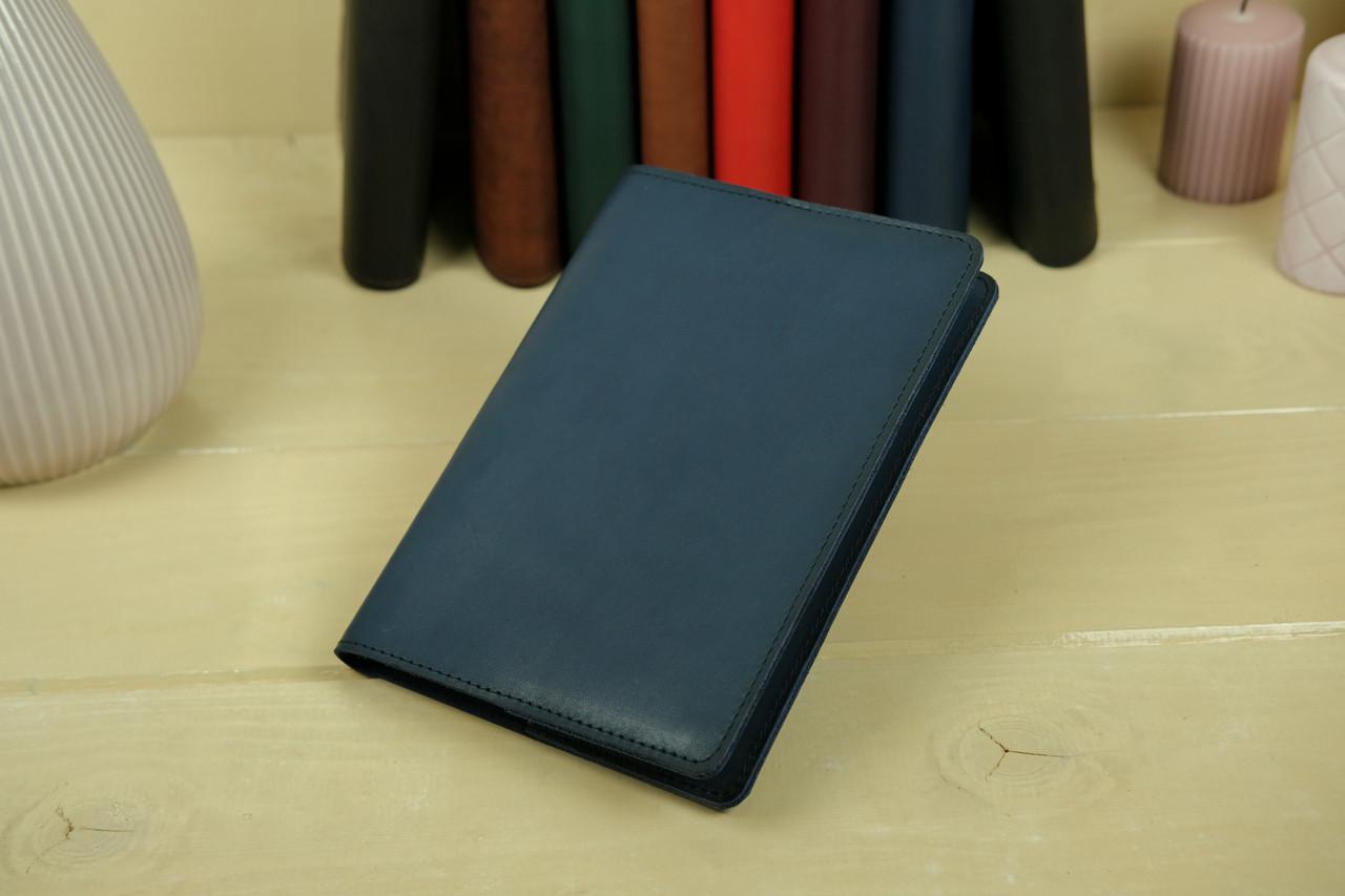 """Обкладинка для блокнот А5, """"Модель № 14"""", Шкіра Італійський краст, колір Синій"""