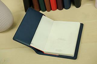 """Обкладинка для блокнот А5, """"Модель № 14"""", Шкіра Італійський краст, колір Синій, фото 2"""