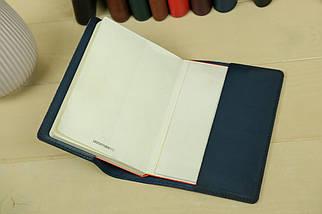 """Обкладинка для блокнот А5, """"Модель № 14"""", Шкіра Італійський краст, колір Синій, фото 3"""