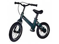 Беговел (Велобег) детский Maraton GT с надувными колесами и ручным тормозом, Темно-зеленый металлик
