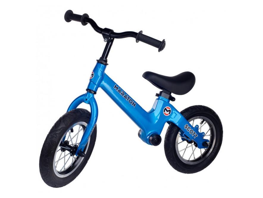 Беговел (велобіг від) дитячий Maraton Scott з надувними колесами, Синій металік