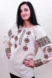 """Блуза вышиванка женская """"Роксолана"""" из серого льна с орнаментом"""