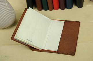 """Обкладинка для блокнот А5, """"Модель № 14"""", Шкіра Італійський краст, колір Коричневий, фото 3"""