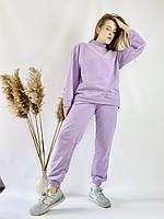 Бузковий спортивний жіночий костюм зі свитшотом оверсайз з бавовни розмір S-M