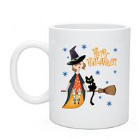 Купить кружку с нанесением на Хеллоуин  Vedma end cat, недорого