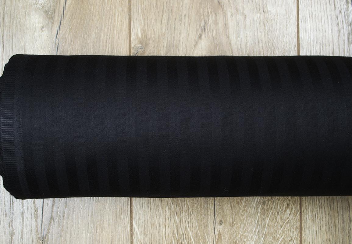 Ткань Турция сатин страйп 1*1 черный 280 ширина