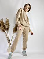 Бежевий спортивний жіночий костюм зі свитшотом оверсайз з бавовни розмір S-M