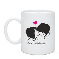 Чашка кружка для влюблённых принт  True love is forever