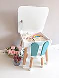 """Дитячий квадратний стіл з пеналом і 1 стільчик """"зайчик"""", фото 3"""