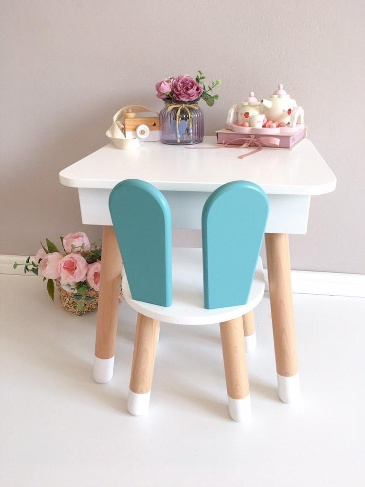 """Дитячий квадратний стіл з пеналом і 1 стільчик """"зайчик"""""""