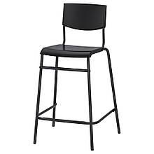 STIG СТІГ, Барний стілець зі спинкою, чорний, сріблястий63 см