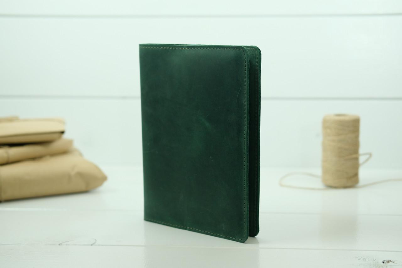 """Обложка для блокнота А5, """"Модель № 14"""", Винтажная кожа, цвет Зеленый"""