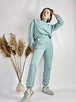Бірюзовий спортивний жіночий костюм зі свитшотом оверсайз з бавовни розмір S-M