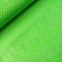 Ткань с белыми точками 1,5 мм на салатовом, ш. 160 см, фото 1