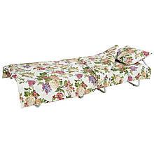 Кровать на ламелях с постелью d 25 мм бязь (Цветы полевые)