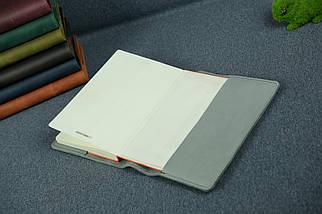 """Обкладинка для блокнот А5, """"Модель № 14"""", Вінтажна шкіра, колір Сірий, фото 3"""
