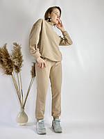 Бежевий спортивний жіночий костюм зі свитшотом оверсайз з бавовни розмір M-L