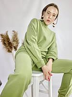 Зелений спортивний жіночий костюм зі свитшотом оверсайз з бавовни розмір M-L