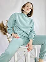 Бірюзовий спортивний жіночий костюм зі свитшотом оверсайз з бавовни розмір M-L
