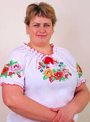 """Вышиванка женская сорочка в белом цвете """"Диана"""" с коротким рукавом"""