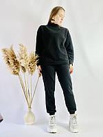 Чорний спортивний жіночий костюм зі свитшотом оверсайз з бавовни розмір M-L