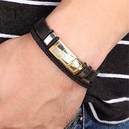 Багатошаровий шкіряний браслет 20 см золотий (ЕКГ), фото 2