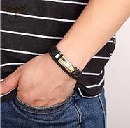 Багатошаровий шкіряний браслет 20 см золотий (ЕКГ), фото 3