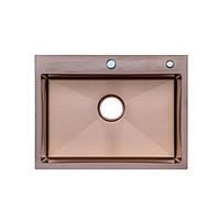 Кухонні мийкиТМ Platinum Мійка Germece Handmade PVD бронза 60*45/220 (товщина 3,0/1,5+кошик та дозатор у
