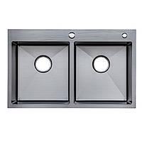 Кухонні мийкиТМ Platinum Мійка Germece Handmade PVD чорна 78*48/220 на дві чаші (товщ.3,0/1,5+кошик та