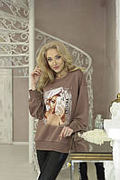 Женский свитшот с принтом Zhilina collection S-01A M Мокко