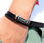 Шкіряний браслет 20 см срібний (Forever Infinity), фото 2
