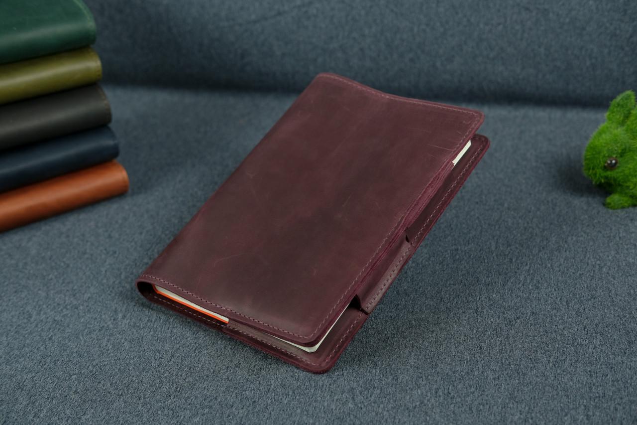 Обкладинка для щоденника формату А5, Модель № 12, Вінтажна шкіра, колір Бордо