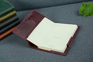 Обкладинка для щоденника формату А5, Модель № 12, Вінтажна шкіра, колір Бордо, фото 2