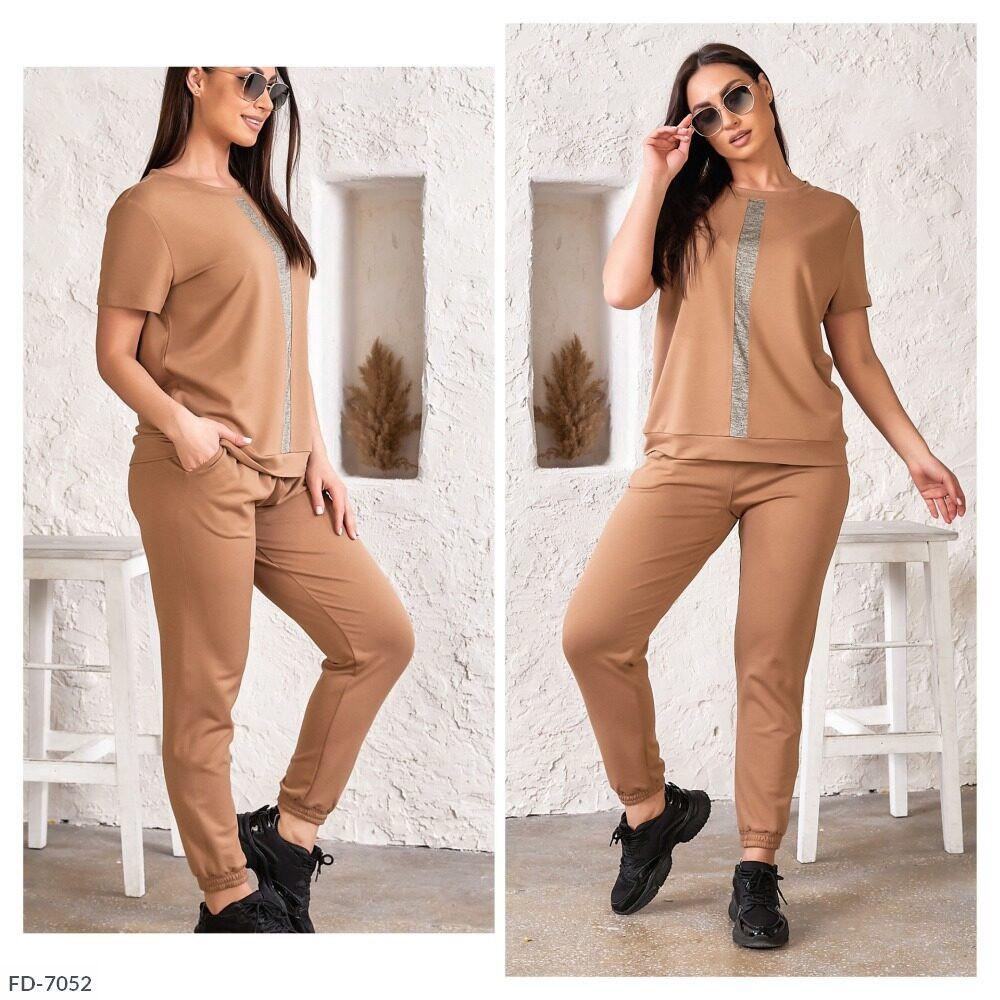 Прогулочный спортивный костюм женский красивый летний с футболкой больших размеров 50-56 арт. 5143
