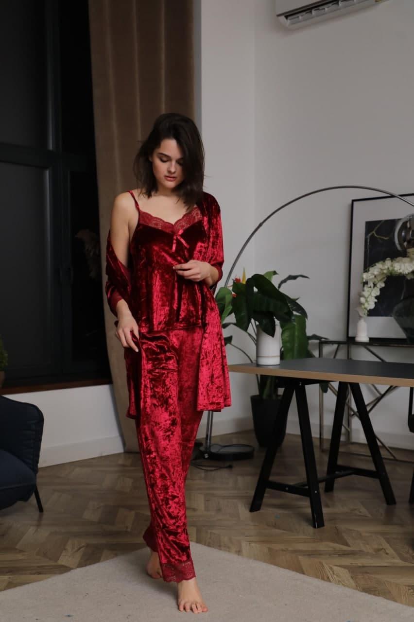 Домашній костюм трійка жіночий Nicoletta мармуровий велюр Туреччина