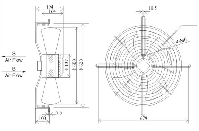 Осевой промышленный вентилятор 600 B/S