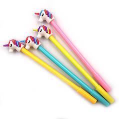 """DSCN9597 Ручка детская с игрушкой """"Единорог"""", гелевая, синяя, mix, 12шт/этик."""