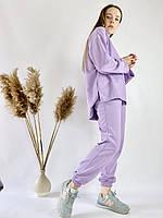 Лавандовий спортивний жіночий костюм з подовженою кофтою з бавовни розмір S-M