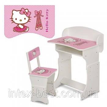 Детская парта (арт. 301-1) регулируемая по высоте Hello Kitty (бело-розовая)