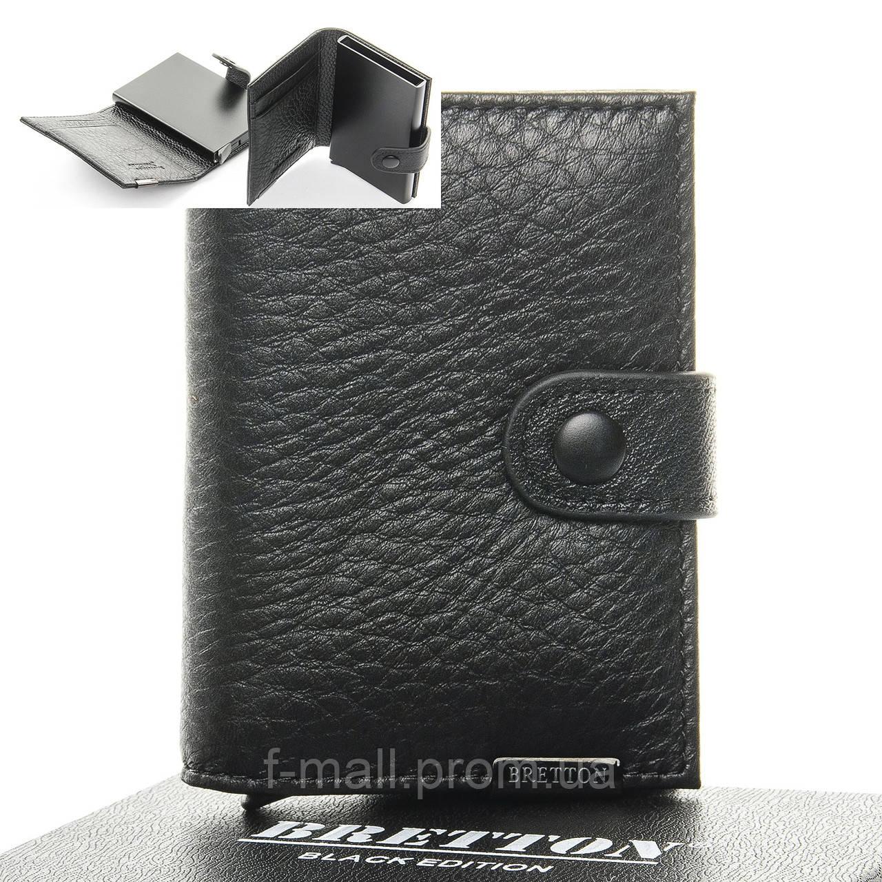 Кошелек визитница-картхолдер мужской кожаный BRETTON черный (05-120)