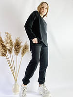 Чорний спортивний жіночий костюм з подовженою кофтою з бавовни розмір S-M