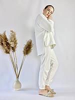 Білий молочний спортивний жіночий костюм з подовженою кофтою з бавовни розмір M-L