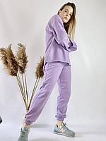 Бузковий спортивний жіночий костюм з подовженою кофтою з бавовни розмір M-L