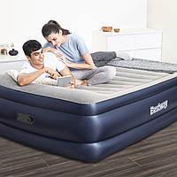 Велюрова двоспальне ліжко-матрац 203*152*61 см BESTWAY 67690 з вбудованим електро-насосом, фото 1