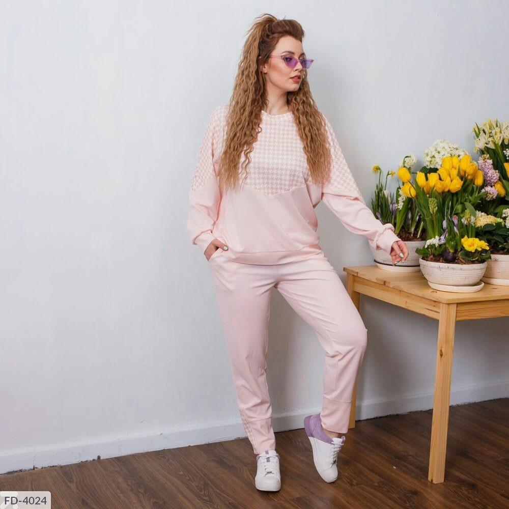 Модный женский спортивный костюм свитшот с штанами большие размеры 50-60 арт. 7094/1