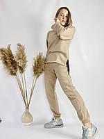Бежевий спортивний жіночий костюм з подовженою кофтою з бавовни розмір M-L